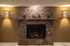 Northern Granite Rainforest Brown Marble Fireplace
